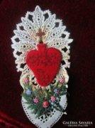 KARÁCSONY JÉZUS lángoló szíve SZECESSZÍÓS képeslap