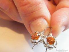 Narancs színü köves,925-ös ezüst fülbevaló