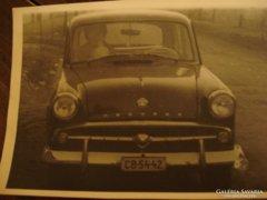 Régi Moszkvics autó fotóval képeslap