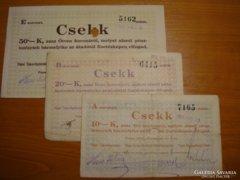 *** 1919 -es KORONA csekkek kézi aláírással!!!  ***