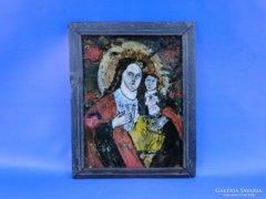0D653 Antik üveg ikon Mária gyermekével