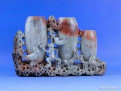 0D661 Antik faragott majmos állatos zsírkő szobor