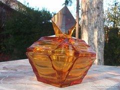 Borostyánsárga díszüveg-parfümös üveg cseh gyönyörű