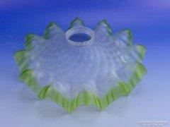 0D971 Antik konyhai fodros zöld opálüveg lámpabúra