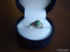 Zöld türkiz köves ezüst gyűrű