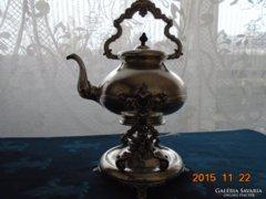 Dianás ezüst jellel és mesterjellel-Antik barokk billenős ezüstözött teáskanna+spiritusz-
