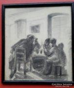 Kisjenői Klein Ernő: Kocsmai jelenet,mulatozó vidéki férfiak, mérete:22cmX24,5cm,