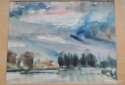 L.P.A. 1945 :Akvarel tájkép,hátulja is festett, mérete:33cmX26,5cm,