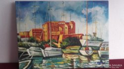 Hevesi Aliz olaj festménye. Kikötő Horvátországban