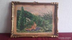 Herman Lipót festménye blondel keretben.