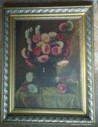 Felvidéki, jegyzett festő, nagyméretű olaj-vászon festménye