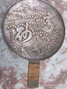 Ritkaság-Keleti-japán műtárgy bronz gésa tükör !