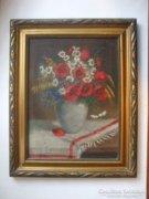 Csendélet, olajfestmény. Virágcsokor vázában