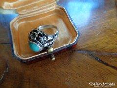 Régi ezüst gyűrű,türkizzel ,ötvös munka !!