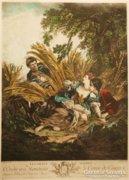 Csodás antik Francois Boucher eredeti litográfia 1900 körül