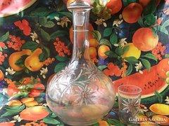 Hasas borosüveg dugóval+pohár kézzel festett