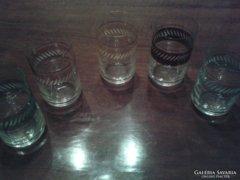 Retro csiszolt vékony poharak ,5 db