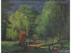 Magyar festő 1930 körül : Parkban