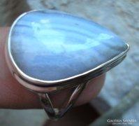 925 ezüst gyűrű kék szalagos acháttal 19,3/60,6 mm