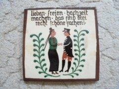 Német kerámia falikép - jelzett