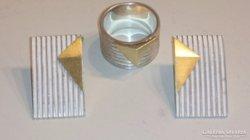 Ezüst gyönyörű artdeco gyűrű és fülbevaló