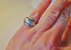 Szép régi széles kézműves ezüst gyűrű