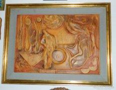 Litkei József  : HARLEKIM  - képcsarnokos hatalmas bőrkép