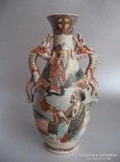 Antik sárkányfüles, satsuma váza (1860-1880)