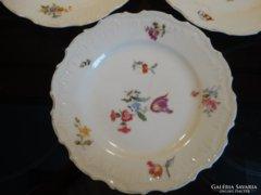 Antik, kézzel festett porcelán süteményes tányér, 3 db