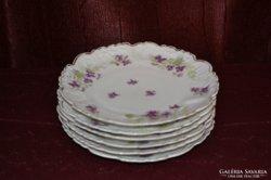 Szecessziós porcelán virágos tányérok ( 6 db ) ( DBZ0054 )