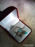Kék opállal,cirkóniával ezüst gyűrű és medál