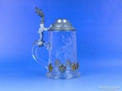 0D366 Antik ón fedeles csiszolt üvegkupa korsó