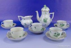0E147 Régi herendi porcelán 5 szem. kávéskészlet