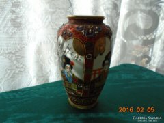 Japán antik váza-Satsuma Moriage-4 gésa portréval-8 irásjel