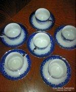 Apulum, kék mintàs, ezüst szélű porcelán 6 szem. teàs szett