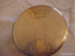 Szecessziós ezüst púderos doboz tükörrel