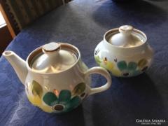 Antik baranovka porcelán cukros, és kiöntő