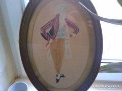 Antik selyemképek.Hímzett.Pár(Hölgy-Úr)1-1 db
