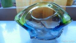 Érdekes kosár alakú üveg kínáló/asztalközép