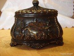 Bronzírozott barokkos fém díszdoboz
