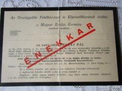 Gyászjelentés Gróf TELEKI PÁL miniszterelnök 1941