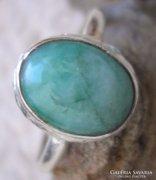 925 ezüst gyűrű 18,1 mm, új, kezeletlen smaragddal