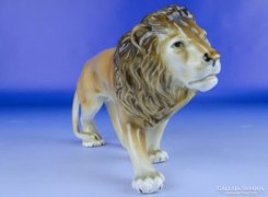 0E186 Jelzett Royal Dux porcelán oroszlán szobor