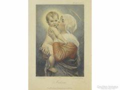 0E782 Antik müncheni nyomat Mária kis Jézussal