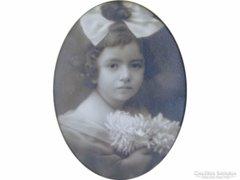 0E789 Antik gyerekportré kislány portré keretben