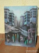 Jelzett kvalitásos olaj/vászon utcakép festmény