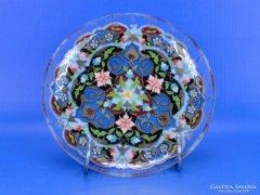 0D461 Jelzett kézi festésű üveg dísztányér