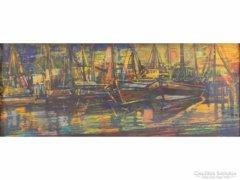 0E295 Richard Pusch naplemente a kikötőben repro