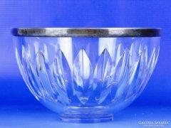 0E480 Jelzett ezüst peremes üveg kínáló tál
