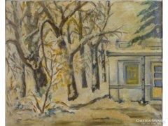 0E648 Régi téli táj olaj festmény arany keretben